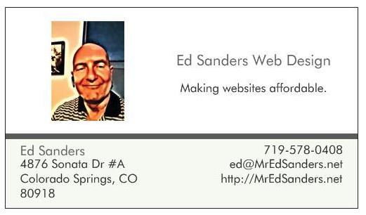 Ed Sanders Web Design business card